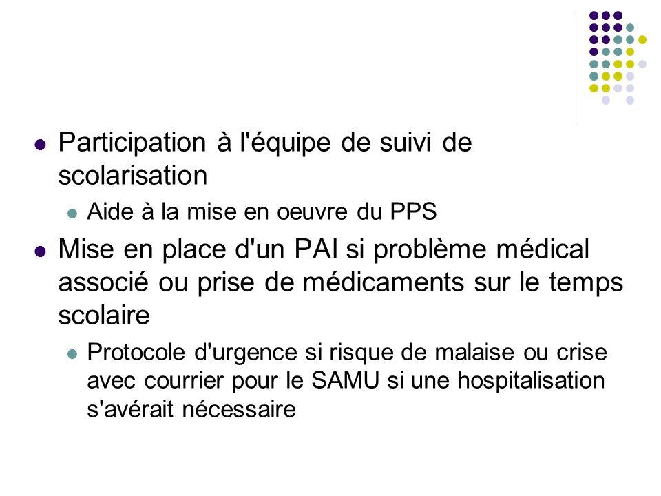 Participation à l'équipe de suivi de scolarisation Aide à la mise en oeuvre du PPS Mise en place d'un PAI si problème médical associé ou prise de médi