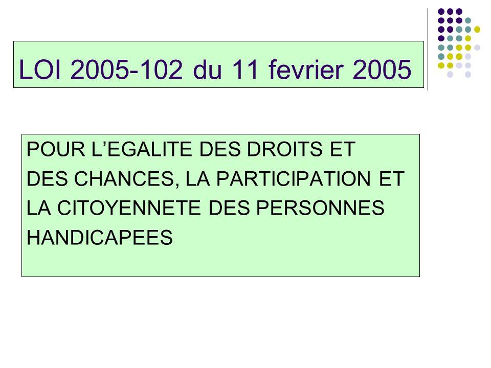 LOI 2005-102 du 11 fevrier 2005 POUR LEGALITE DES DROITS ET DES CHANCES, LA PARTICIPATION ET LA CITOYENNETE DES PERSONNES HANDICAPEES