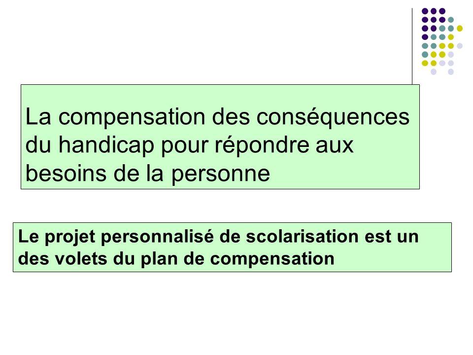 La compensation des conséquences du handicap pour répondre aux besoins de la personne Le projet personnalisé de scolarisation est un des volets du pla