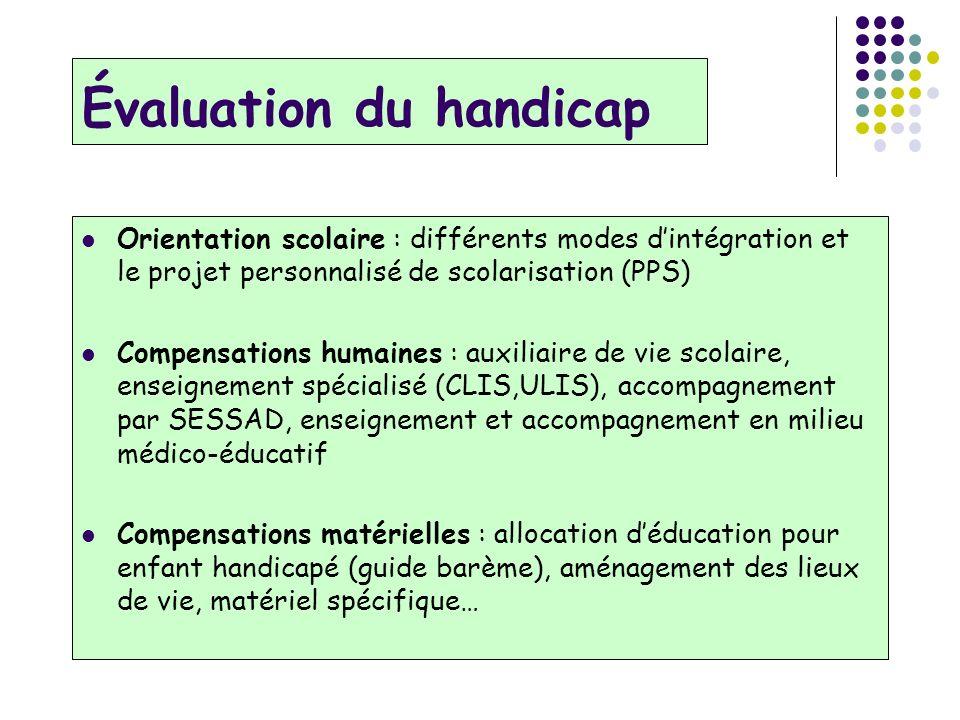 Évaluation du handicap Orientation scolaire : différents modes dintégration et le projet personnalisé de scolarisation (PPS) Compensations humaines :