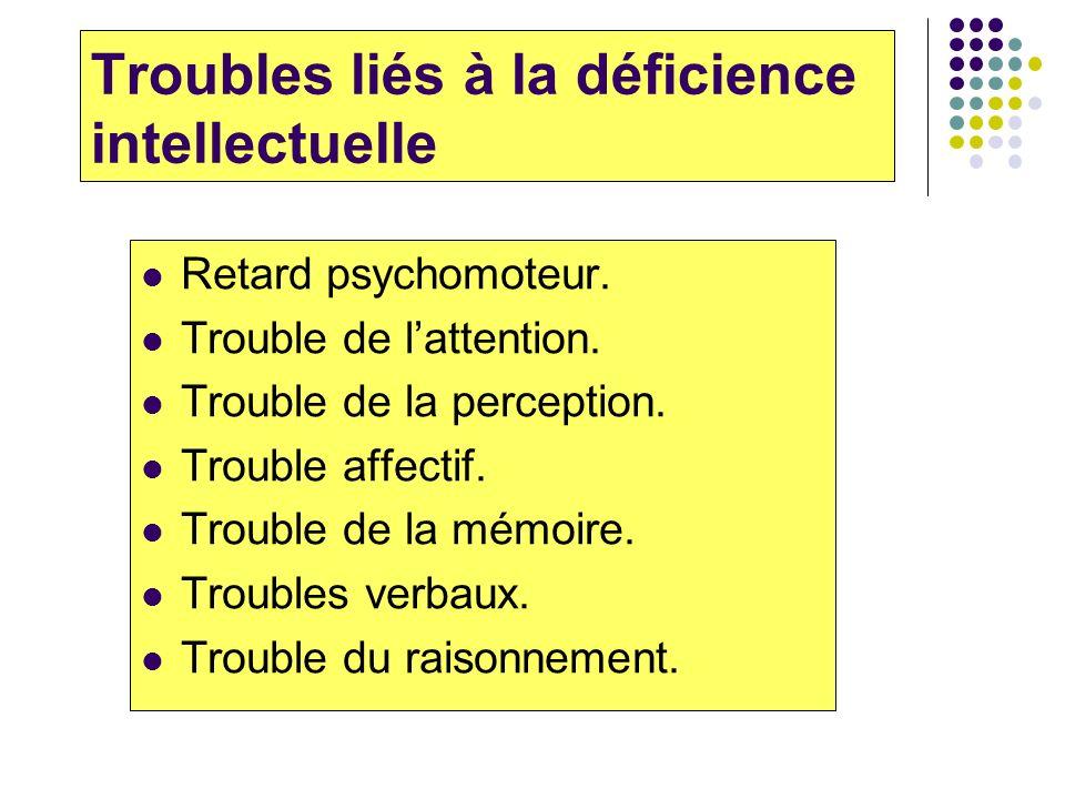 Troubles liés à la déficience intellectuelle Retard psychomoteur. Trouble de lattention. Trouble de la perception. Trouble affectif. Trouble de la mém