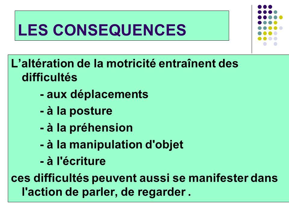 LES CONSEQUENCES Laltération de la motricité entraînent des difficultés - aux déplacements - à la posture - à la préhension - à la manipulation d'obje