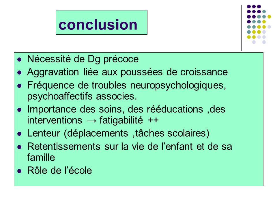 conclusion Nécessité de Dg précoce Aggravation liée aux poussées de croissance Fréquence de troubles neuropsychologiques, psychoaffectifs associes. Im
