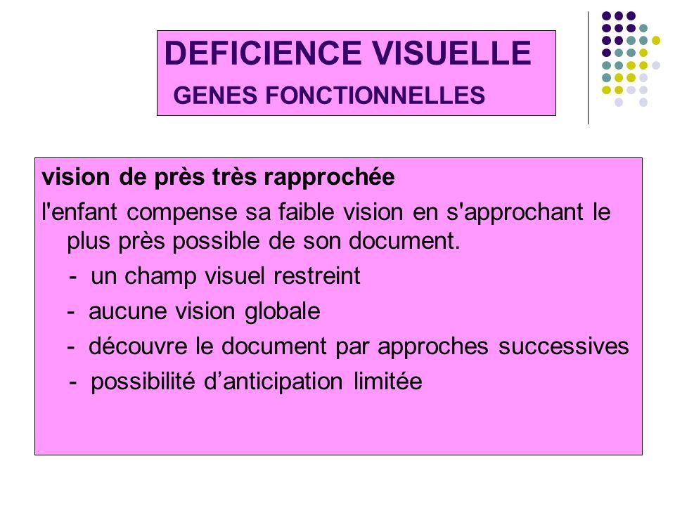 DEFICIENCE VISUELLE GENES FONCTIONNELLES vision de près très rapprochée l'enfant compense sa faible vision en s'approchant le plus près possible de so