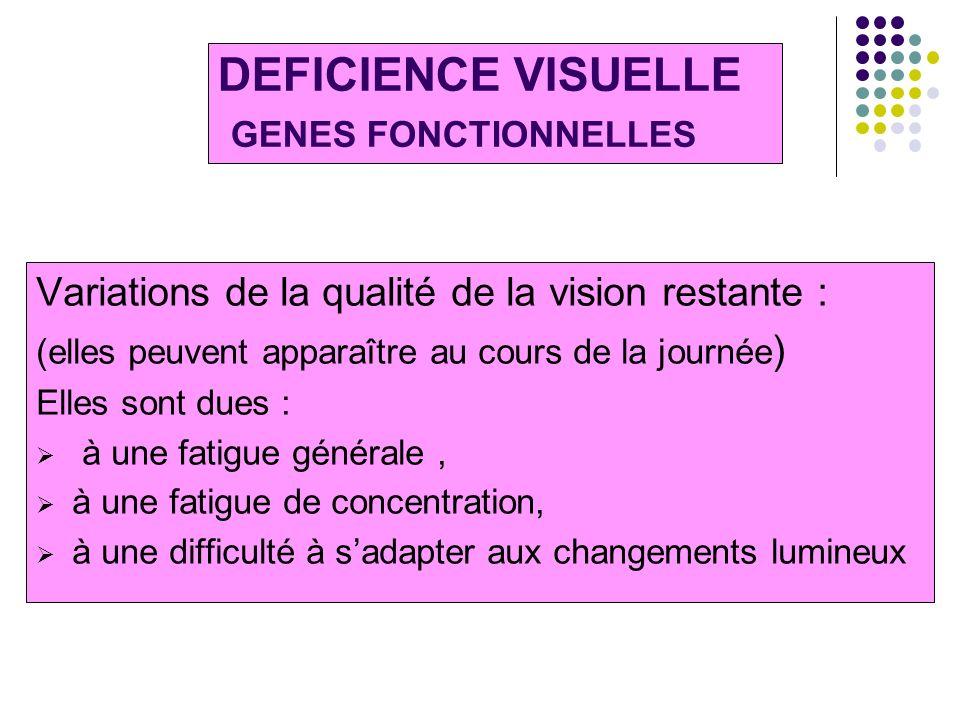 DEFICIENCE VISUELLE GENES FONCTIONNELLES Variations de la qualité de la vision restante : (elles peuvent apparaître au cours de la journée ) Elles son