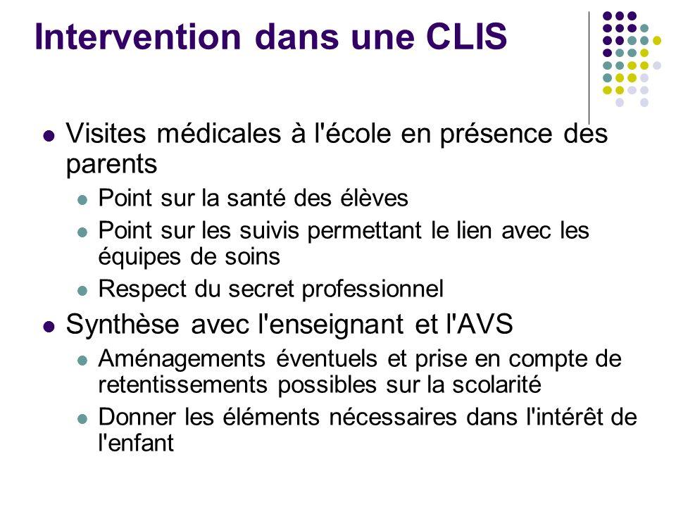 Intervention dans une CLIS Visites médicales à l'école en présence des parents Point sur la santé des élèves Point sur les suivis permettant le lien a