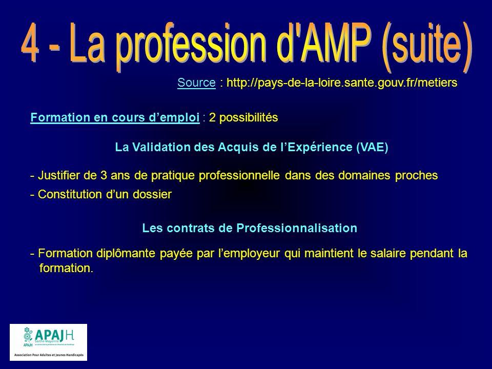Source : http://pays-de-la-loire.sante.gouv.fr/metiers Formation en cours demploi : 2 possibilités La Validation des Acquis de lExpérience (VAE) - Jus