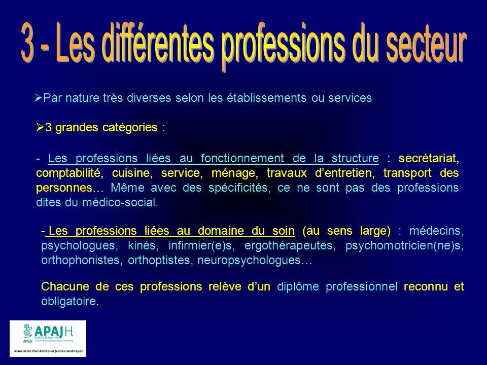 Par nature très diverses selon les établissements ou services 3 grandes catégories : - Les professions liées au fonctionnement de la structure : secré