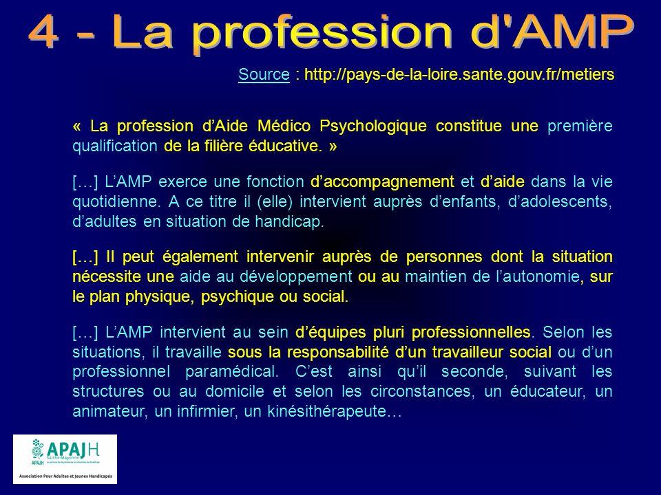 Source : http://pays-de-la-loire.sante.gouv.fr/metiers « La profession dAide Médico Psychologique constitue une première qualification de la filière é