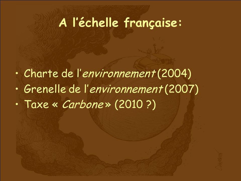 A léchelle française: Charte de lenvironnement (2004) Grenelle de lenvironnement (2007) Taxe « Carbone » (2010 ?)