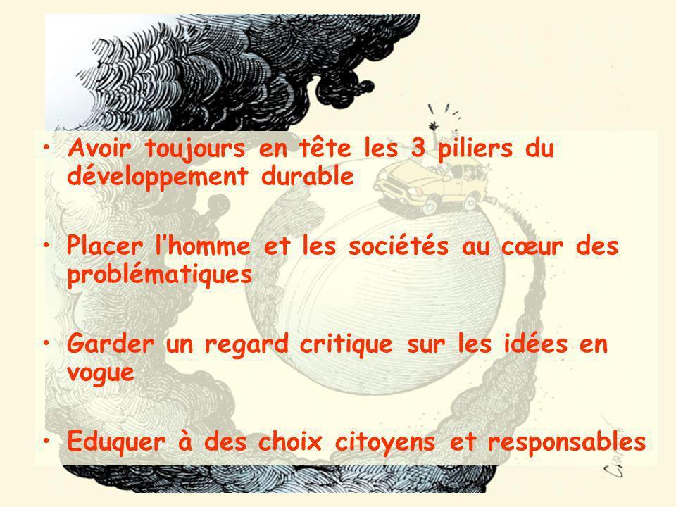 Avoir toujours en tête les 3 piliers du développement durable Placer lhomme et les sociétés au cœur des problématiques Garder un regard critique sur l