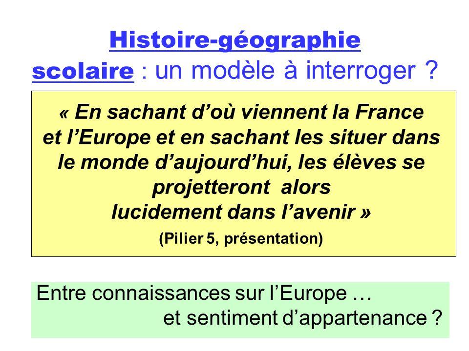 Histoire-géographie scolaire : un modèle à interroger ? Entre connaissances sur lEurope … et sentiment dappartenance ? « En sachant doù viennent la Fr