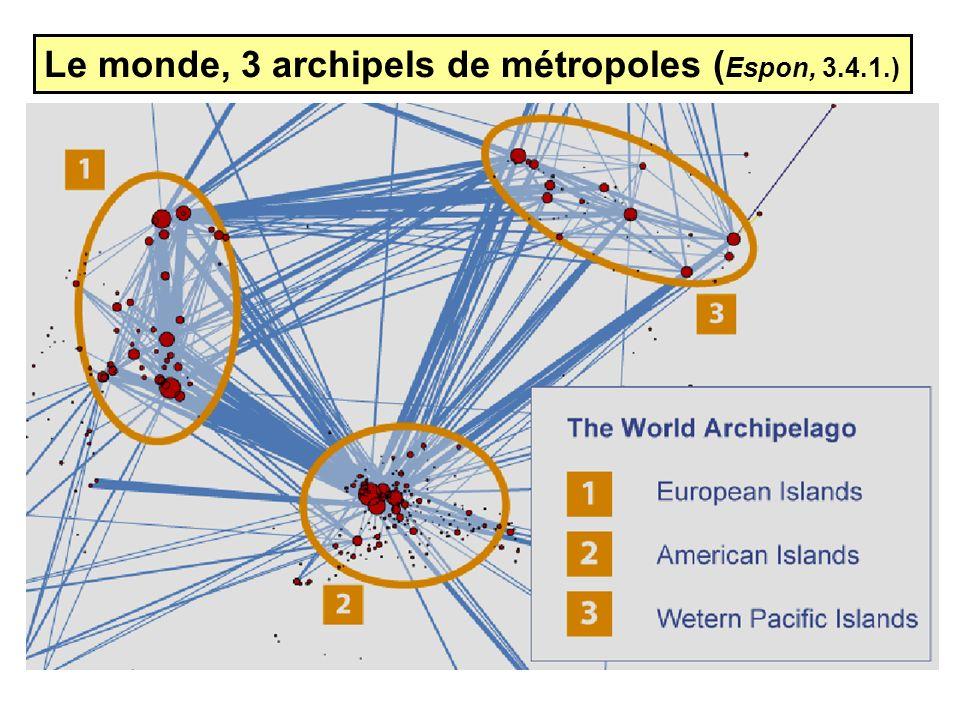 Le monde, 3 archipels de métropoles ( Espon, 3.4.1.)