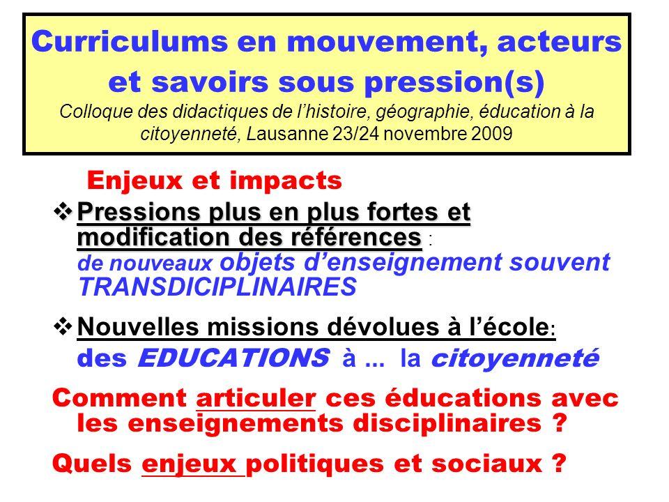 Curriculums en mouvement, acteurs et savoirs sous pression(s) Colloque des didactiques de lhistoire, géographie, éducation à la citoyenneté, Lausanne