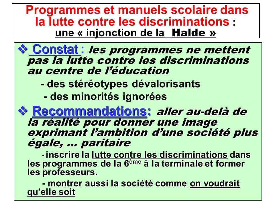 Programmes et manuels scolaire dans la lutte contre les discriminations : une « injonction de la Halde » Constat Constat : les programmes ne mettent p