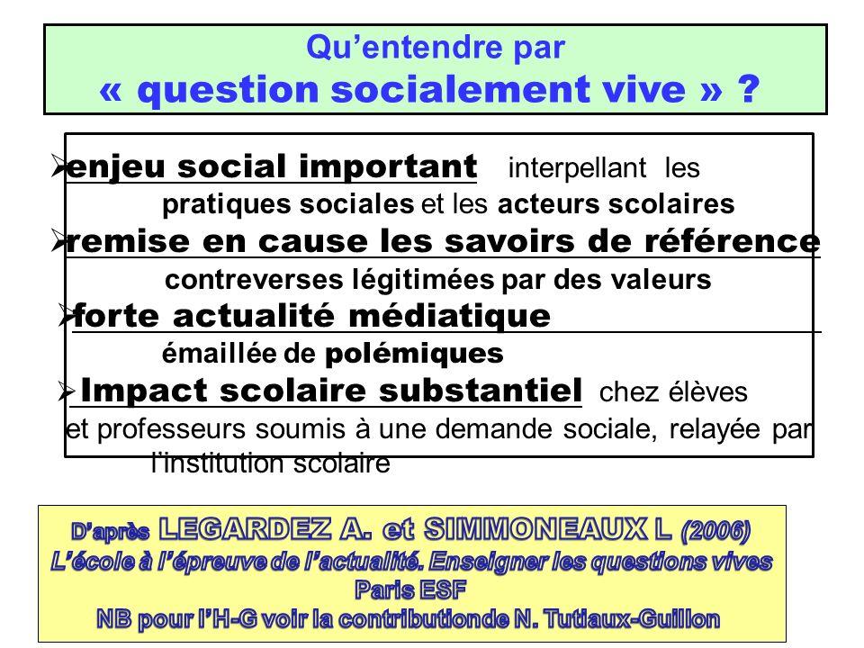 Quentendre par « question socialement vive » ? enjeu social important interpellant les pratiques sociales et les acteurs scolaires remise en cause les