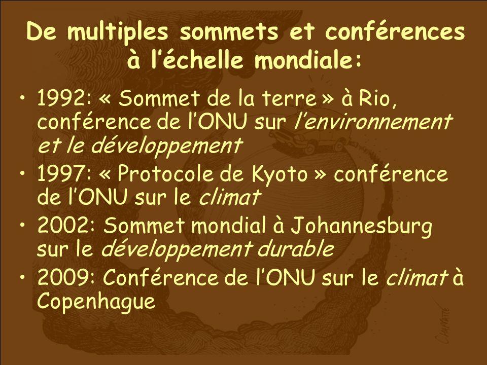 De multiples sommets et conférences à léchelle mondiale: 1992: « Sommet de la terre » à Rio, conférence de lONU sur lenvironnement et le développement 1997: « Protocole de Kyoto » conférence de lONU sur le climat 2002: Sommet mondial à Johannesburg sur le développement durable 2009: Conférence de lONU sur le climat à Copenhague