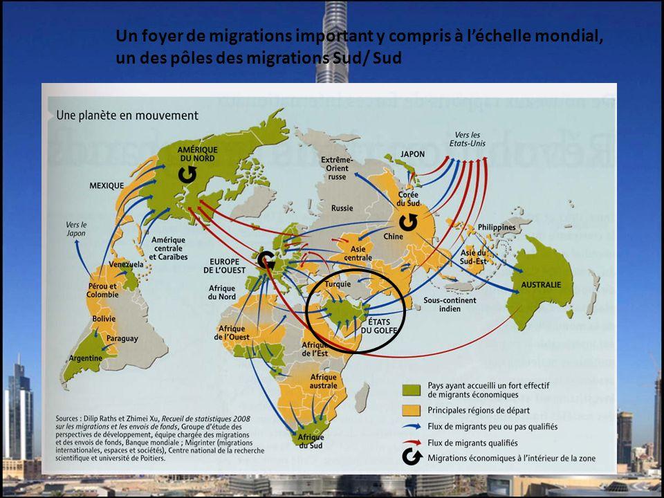 Un foyer de migrations important y compris à léchelle mondial, un des pôles des migrations Sud/ Sud