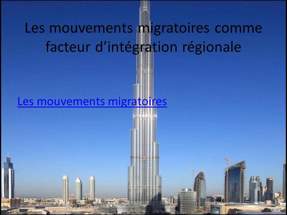 Les mouvements migratoires comme facteur dintégration régionale Les mouvements migratoires