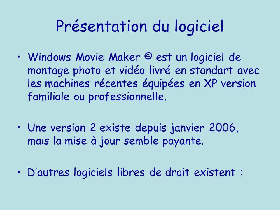 Présentation du logiciel Windows Movie Maker © est un logiciel de montage photo et vidéo livré en standart avec les machines récentes équipées en XP version familiale ou professionnelle.