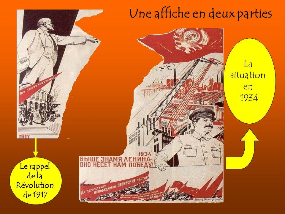 Une affiche en deux parties Le rappel de la Révolution de 1917 La situation en 1934