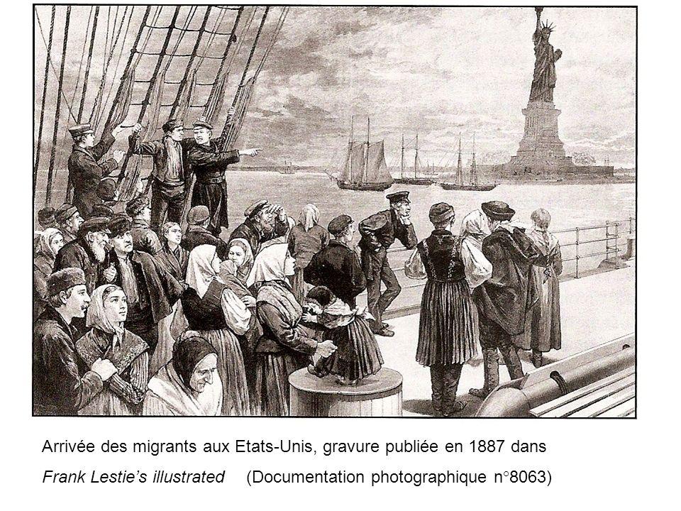 Arrivée des migrants aux Etats-Unis, gravure publiée en 1887 dans Frank Lesties illustrated (Documentation photographique n°8063)