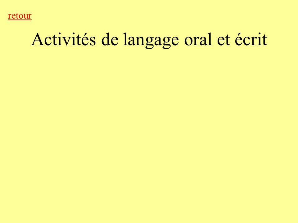 Activités de langage oral et écrit retour
