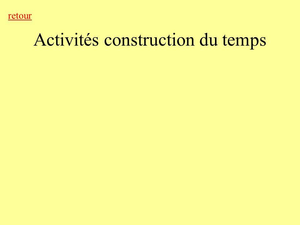 Activités construction du temps retour