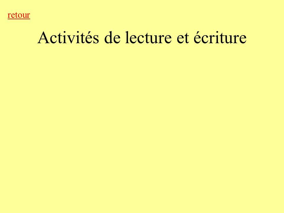 Activités de lecture et écriture retour