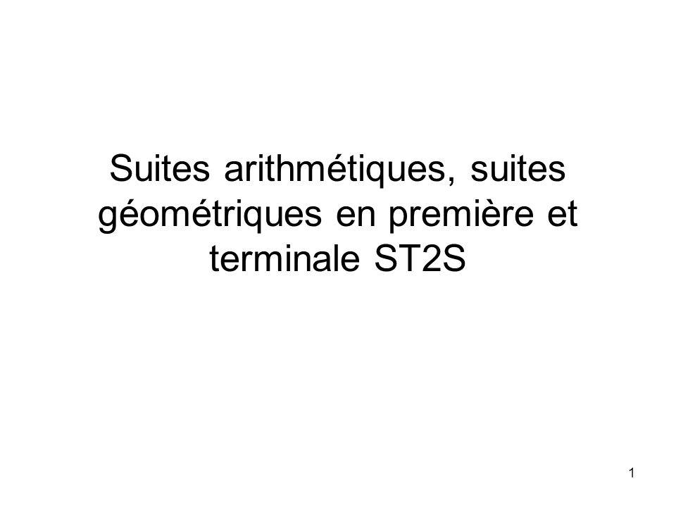 1 Suites arithmétiques, suites géométriques en première et terminale ST2S