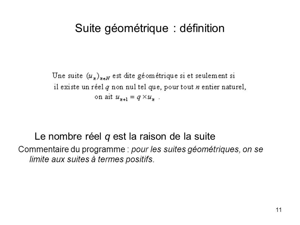 11 Suite géométrique : définition Le nombre réel q est la raison de la suite Commentaire du programme : pour les suites géométriques, on se limite aux