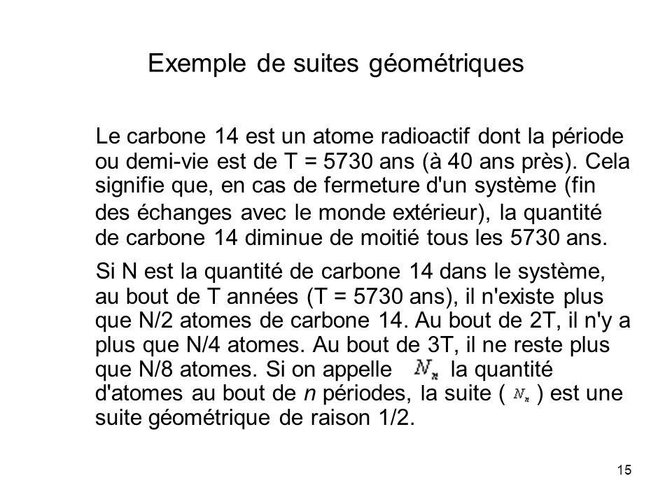 15 Exemple de suites géométriques Le carbone 14 est un atome radioactif dont la période ou demi-vie est de T = 5730 ans (à 40 ans près). Cela signifie