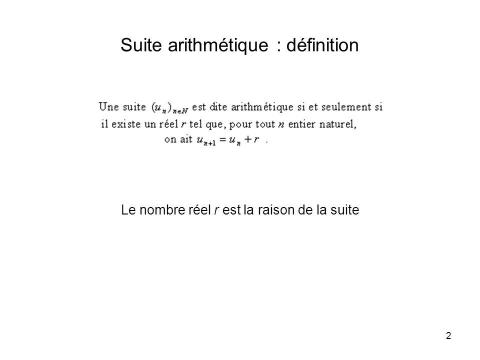 2 Suite arithmétique : définition Le nombre réel r est la raison de la suite
