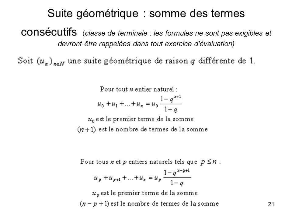 21 Suite géométrique : somme des termes consécutifs (classe de terminale : les formules ne sont pas exigibles et devront être rappelées dans tout exer