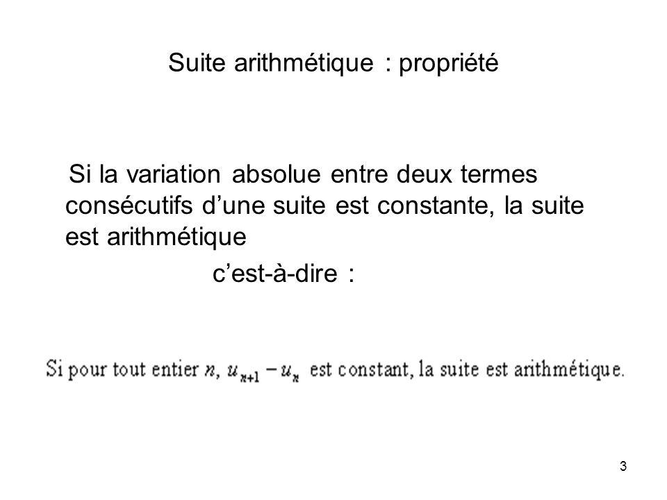 3 Suite arithmétique : propriété Si la variation absolue entre deux termes consécutifs dune suite est constante, la suite est arithmétique cest-à-dire