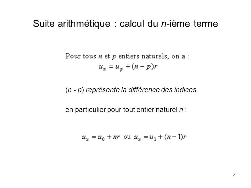 4 Suite arithmétique : calcul du n-ième terme (n - p) représente la différence des indices en particulier pour tout entier naturel n :
