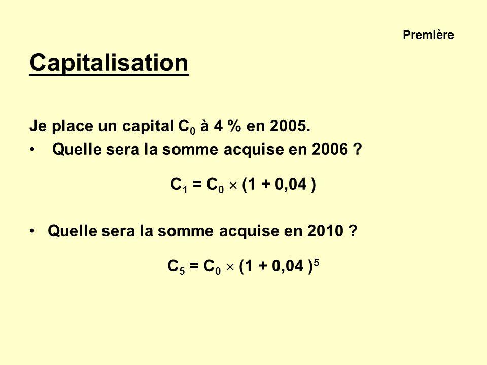 Première Capitalisation Je place un capital C 0 à 4 % en 2005. Quelle sera la somme acquise en 2006 ? C 1 = C 0 (1 + 0,04 ) Quelle sera la somme acqui