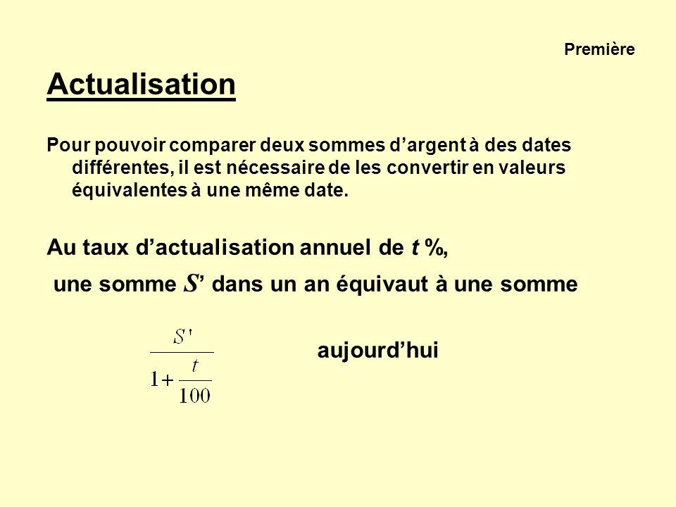 Première Actualisation Pour pouvoir comparer deux sommes dargent à des dates différentes, il est nécessaire de les convertir en valeurs équivalentes à
