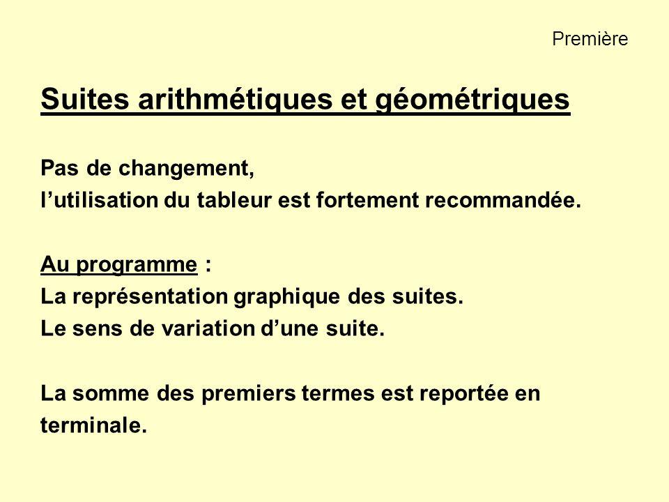 Première Suites arithmétiques et géométriques Pas de changement, lutilisation du tableur est fortement recommandée. Au programme : La représentation g