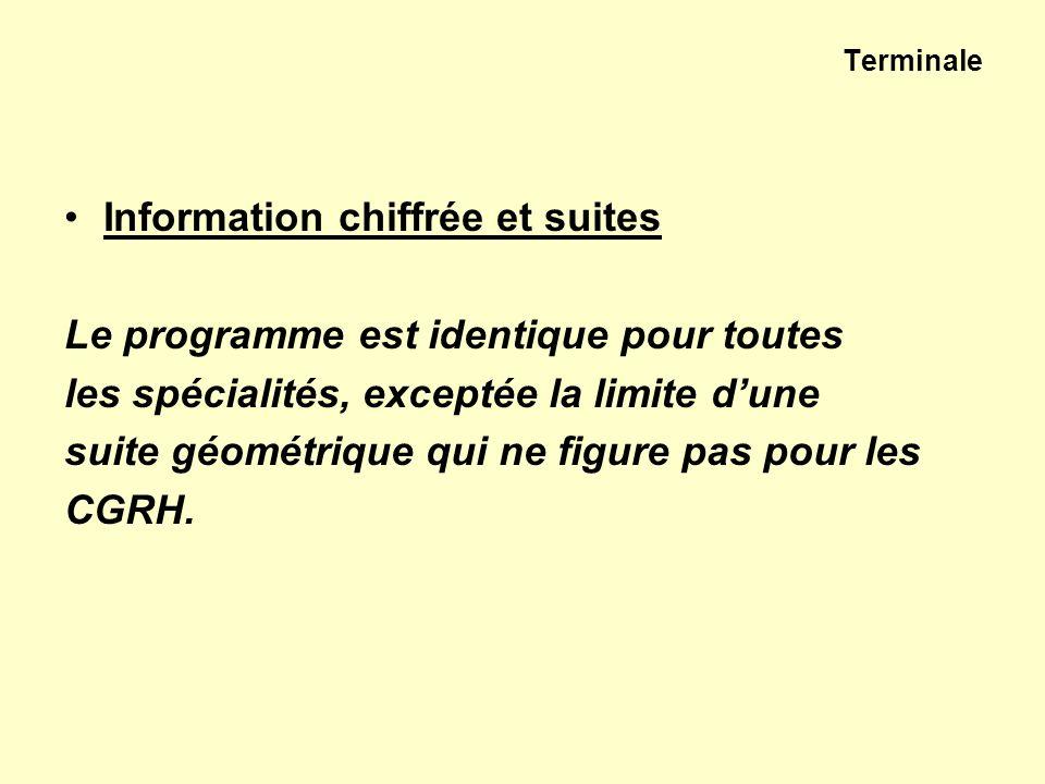 Terminale Information chiffrée et suites Le programme est identique pour toutes les spécialités, exceptée la limite dune suite géométrique qui ne figu