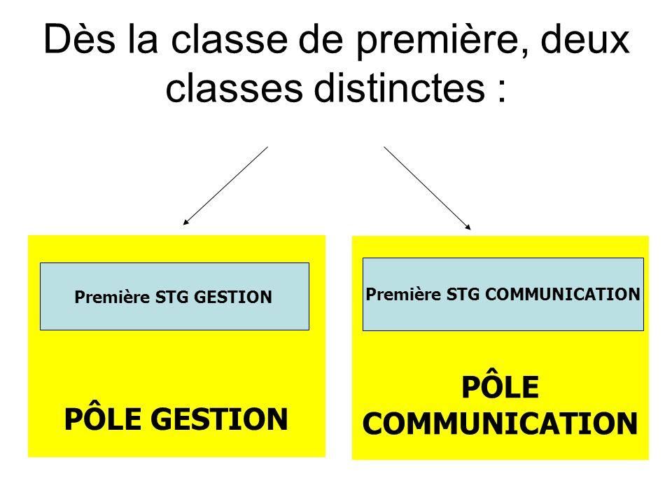 PÔLE COMMUNICATION PÔLE GESTION Première STG GESTION Première STG COMMUNICATION Dès la classe de première, deux classes distinctes :
