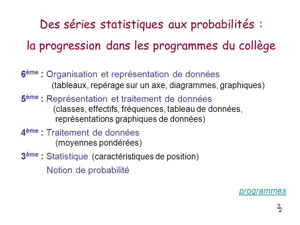 2 2 6 ème : Organisation et représentation de données (tableaux, repérage sur un axe, diagrammes, graphiques) 5 ème : Représentation et traitement de