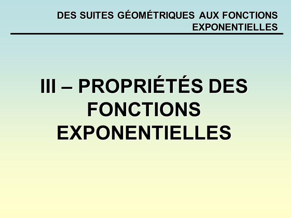 DES SUITES GÉOMÉTRIQUES AUX FONCTIONS EXPONENTIELLES III – PROPRIÉTÉS DES FONCTIONS EXPONENTIELLES
