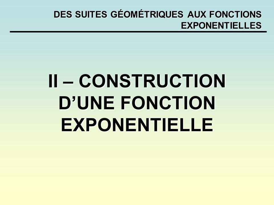 DES SUITES GÉOMÉTRIQUES AUX FONCTIONS EXPONENTIELLES II – CONSTRUCTION DUNE FONCTION EXPONENTIELLE