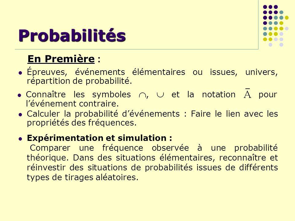Probabilités Expérimentation et simulation : Comparer une fréquence observée à une probabilité théorique. Dans des situations élémentaires, reconnaîtr