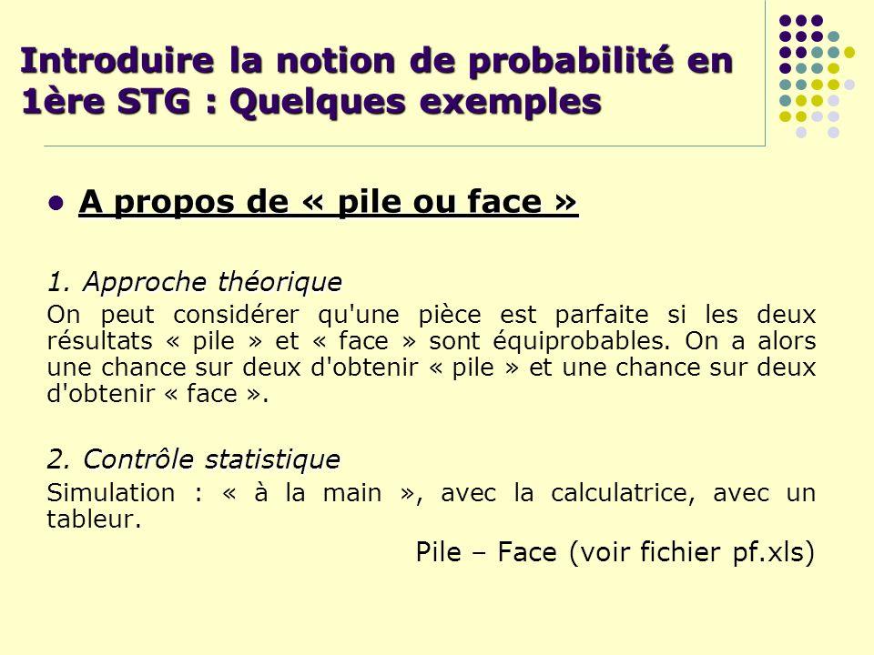 Introduire la notion de probabilité en 1ère STG : Quelques exemples A propos de « pile ou face » Approche théorique 1. Approche théorique On peut cons
