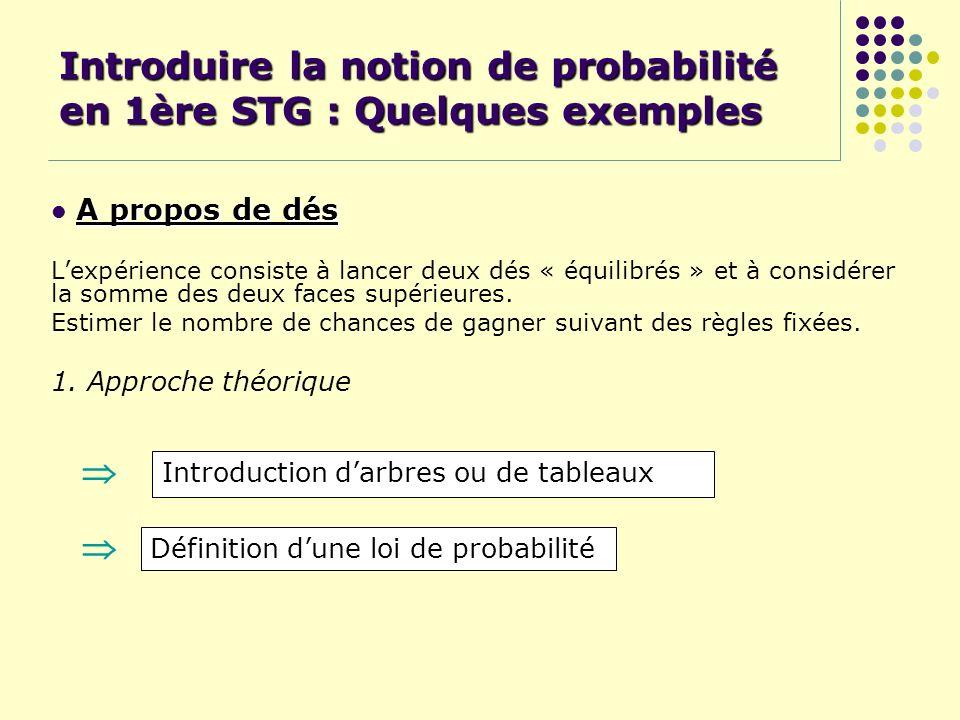 Introduire la notion de probabilité en 1ère STG : Quelques exemples A propos de dés Lexpérience consiste à lancer deux dés « équilibrés » et à considé