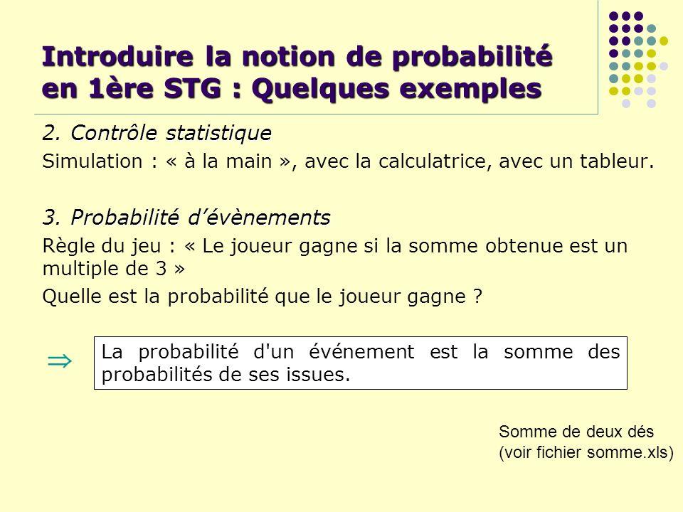 Introduire la notion de probabilité en 1ère STG : Quelques exemples Contrôle statistique 2. Contrôle statistique Simulation : « à la main », avec la c