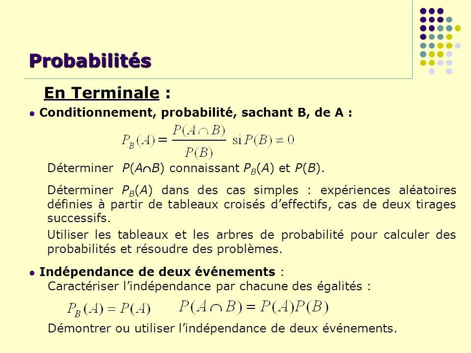 Conditionnement, probabilité, sachant B, de A : Déterminer P(AB) connaissant P B (A) et P(B). Probabilités Indépendance de deux événements : Caractéri
