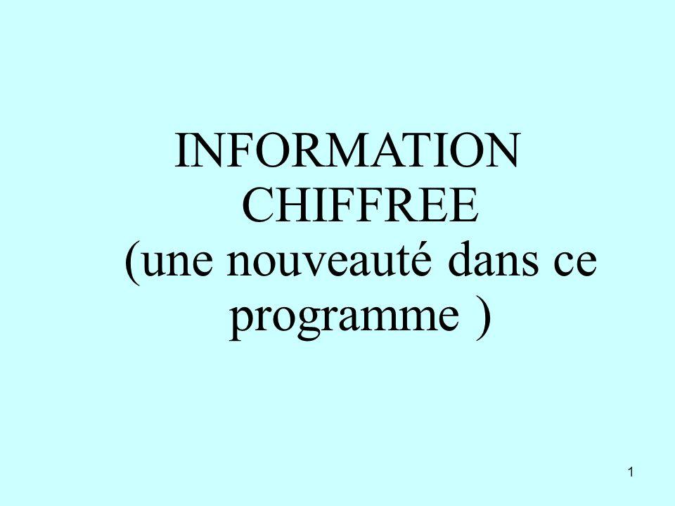 1 INFORMATION CHIFFREE (une nouveauté dans ce programme )